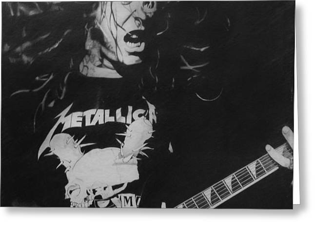 James Hetfield Pencil 1987 Greeting Card by Brian Carlton