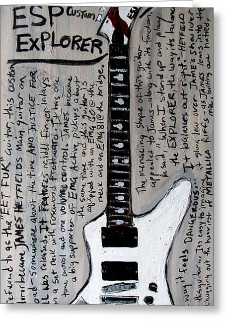 Metallica Greeting Cards - James Hetfields ESP Explorer Greeting Card by Karl Haglund