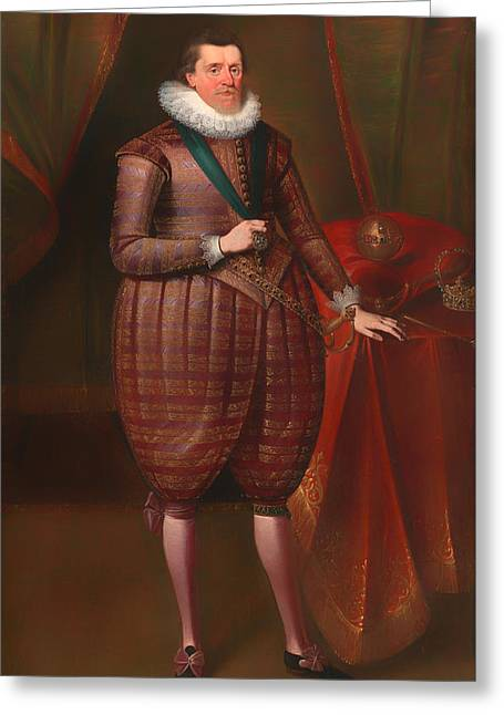 King James Paintings Greeting Cards - James I of England Greeting Card by Paul von Somer