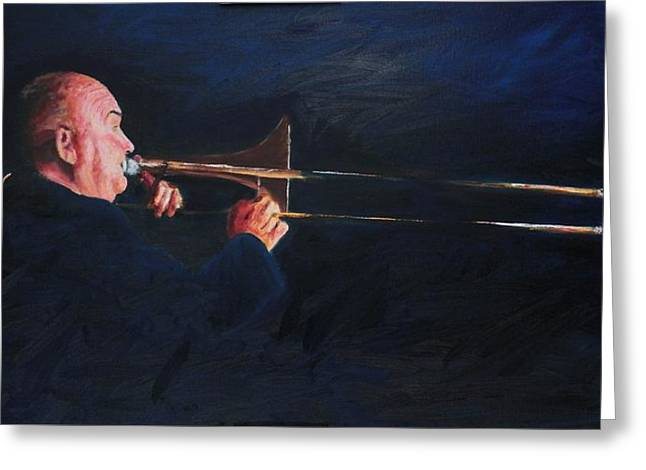 Autographed Paintings Greeting Cards - James Morrison and His Trombone  Autographed Greeting Card by Dave Manning