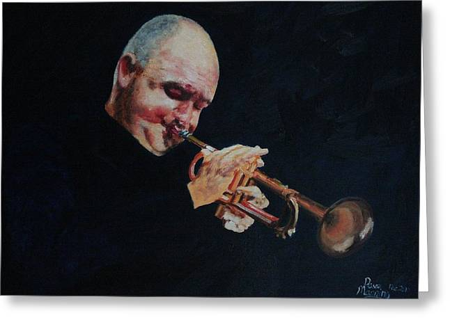 Autographed Paintings Greeting Cards - James Morrison In Action   Autographed Greeting Card by Dave Manning