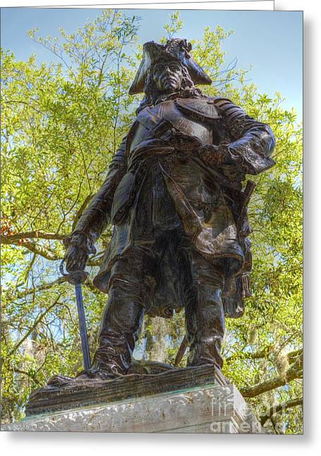 Slavery Greeting Cards - James Oglethorpe statue Greeting Card by Linda Covino