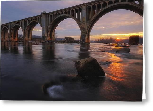 James Pyrography Greeting Cards - James River sunrise Greeting Card by David Nguyen