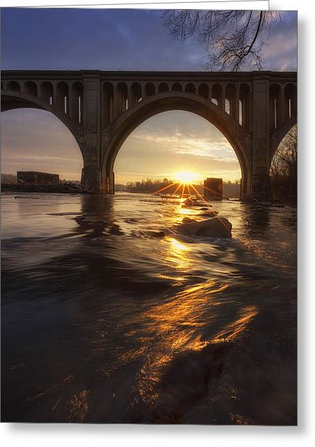 James Pyrography Greeting Cards - James River sunrise ver. 2 Greeting Card by David Nguyen