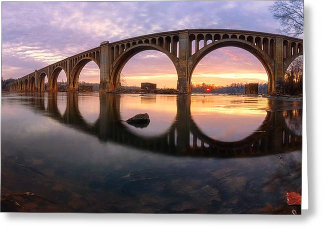 James Pyrography Greeting Cards - James River sunrise ver. 3 Greeting Card by David Nguyen