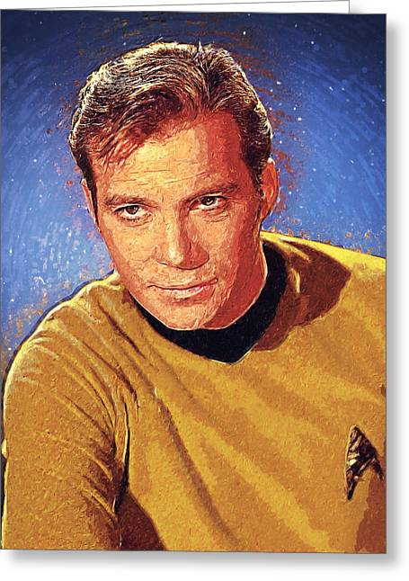 Shatner Greeting Cards - James T. Kirk Greeting Card by Taylan Soyturk