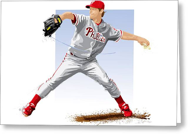 Citizens Bank Greeting Cards - Jamie Moyer Greeting Card by Scott Weigner