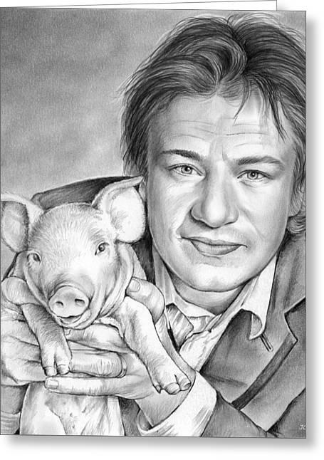 Jamie Oliver Greeting Card by Greg Joens