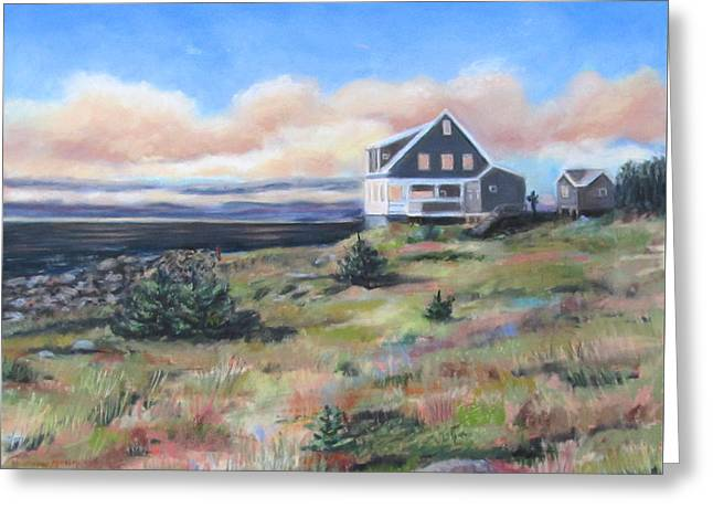 Beach House Pastels Greeting Cards - Jamie Wyeth House  Monhegan ME Greeting Card by Sharon Morley  APS