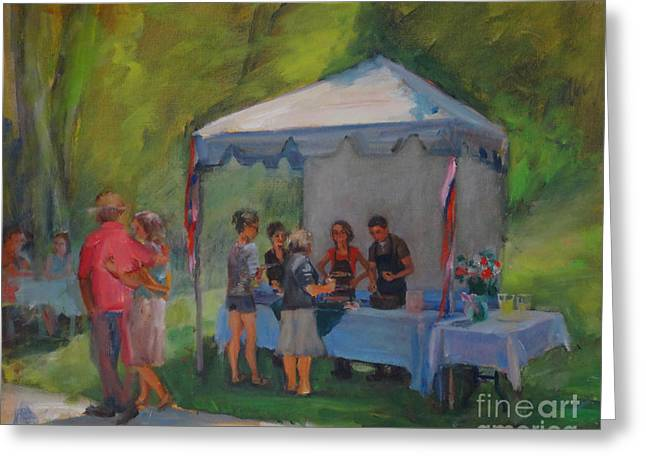 Winetasting Paintings Greeting Cards - Jamming in the Gardens Greeting Card by Joan Coffey