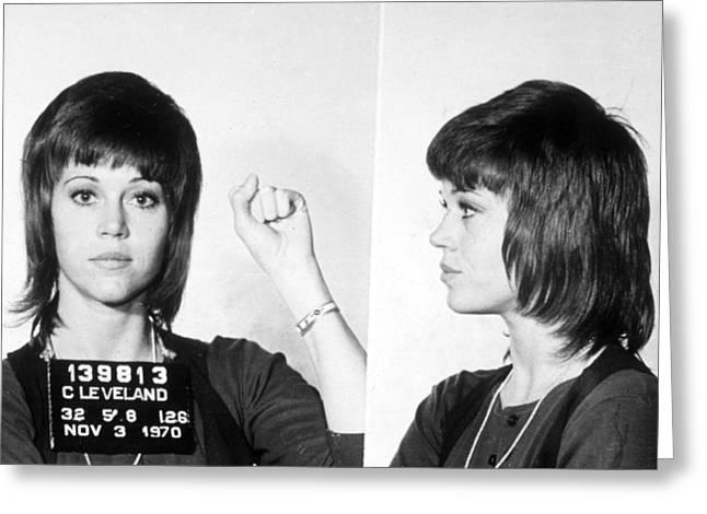 Jail Paintings Greeting Cards - Jane Fonda Mug Shot Horizontal Greeting Card by Tony Rubino