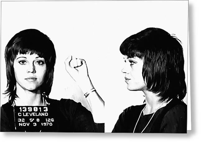 Bill Cannon Greeting Cards - Jane Fonda Mugshot Greeting Card by Bill Cannon
