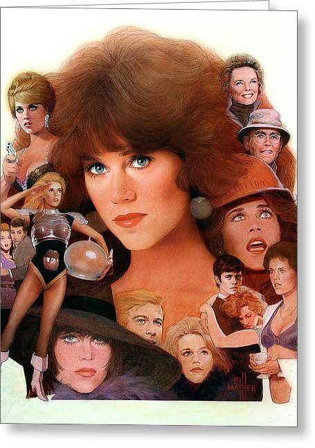 Best Sellers -  - Pond In Park Greeting Cards - Jane Fonda Tribute Greeting Card by Bill Mather