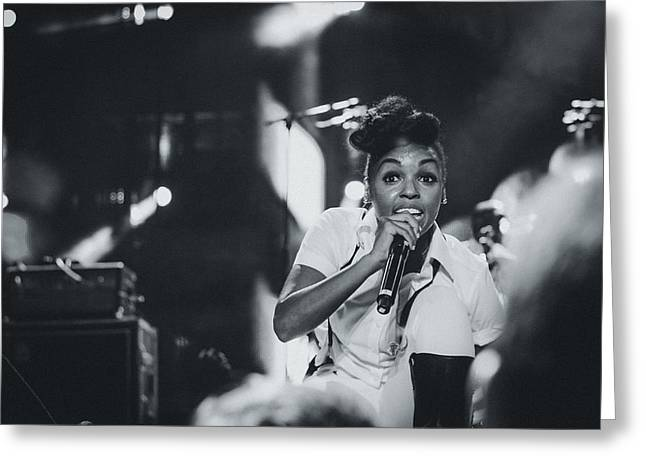 Gospel Greeting Cards - Janelle Monae Playing Live Greeting Card by Marco Oliveira
