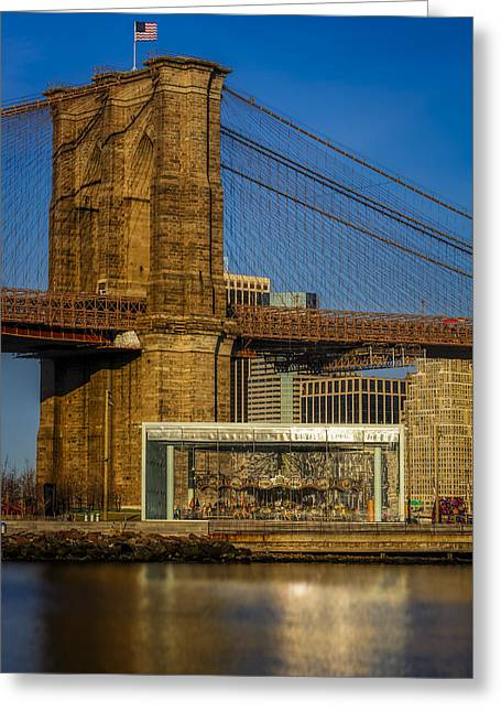 Jane's Carousel Brooklyn Bridge Greeting Card by Susan Candelario