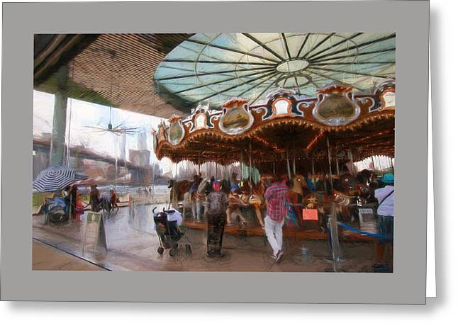 Wooden Building Greeting Cards - Janes Carousel Digital Painting Greeting Card by Allen Beatty