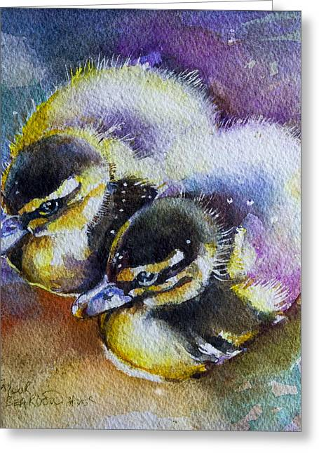Baby Mallards Paintings Greeting Cards - Janice and Abigail Greeting Card by Penny Taylor-Beardow