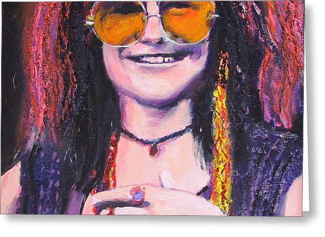 Janis Joplin 2 Greeting Card by Eric Dee