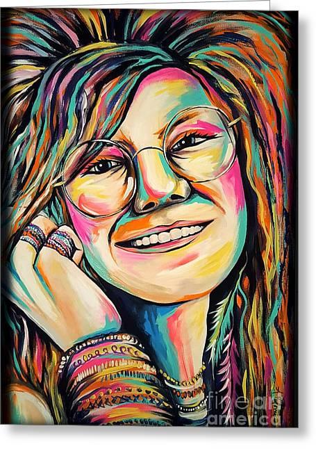 Janis Joplin Greeting Card by Amy Belonio