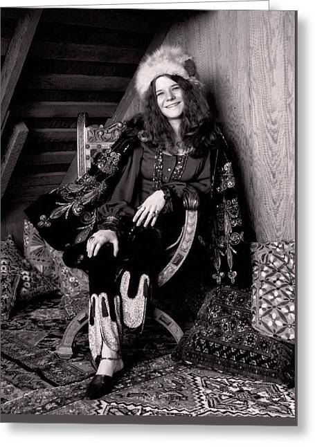 Janis Joplin Casual Greeting Card by Daniel Hagerman