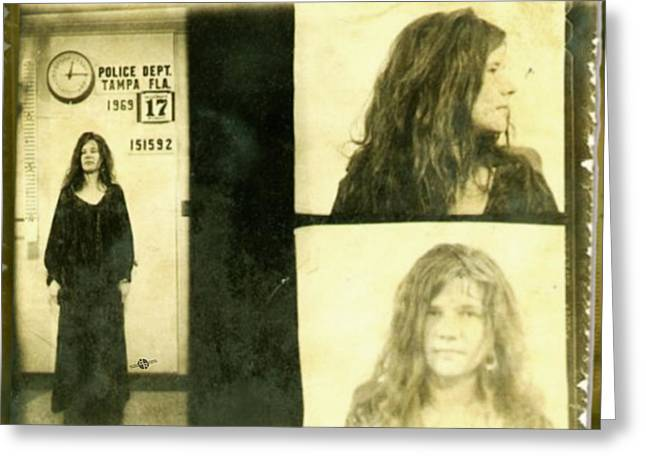 Janis Joplin Mug Shot 1969 Photo Gold Greeting Card by Tony Rubino