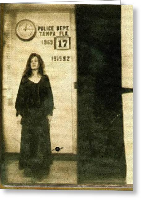 Janis Joplin Mug Shot Standing 1969 Painting Gold Black Greeting Card by Tony Rubino