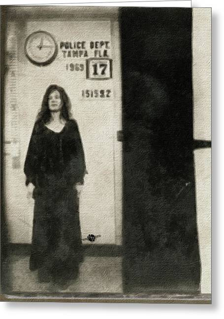 Janis Joplin Mug Shot Standing 1969 Painting Tan Black Greeting Card by Tony Rubino