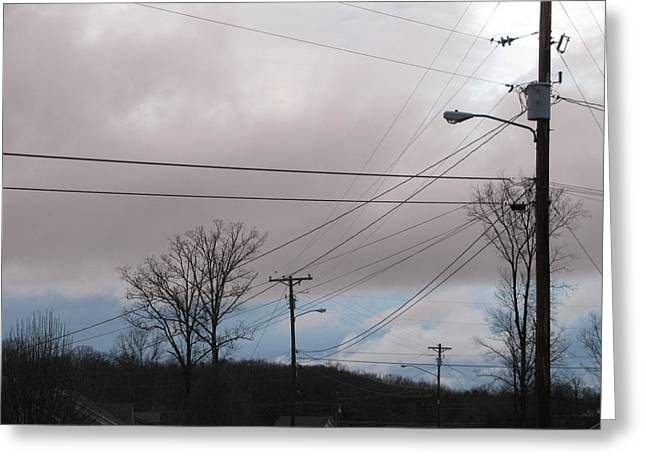 Telephone Wires Greeting Cards - January Blue Sky Greeting Card by Lindie Racz