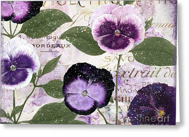 Purples Greeting Cards - January Purple Pansies Greeting Card by Mindy Sommers