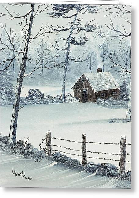 Chimney With Smoke Greeting Cards - January Snow Greeting Card by Lettie Hoots