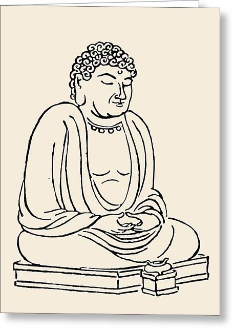 Portrait Woodblock Greeting Cards - Japan: Grand Buddha Greeting Card by Granger