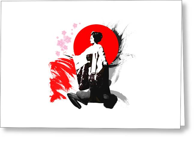 Kyoto Mixed Media Greeting Cards - Japan Kyoto Geisha Greeting Card by Kamil Tokarski