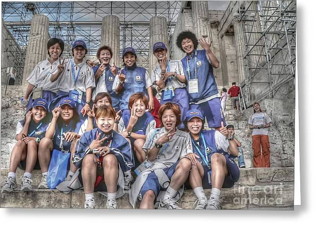 Athens Greeting Cards - Japan Womens Soccer Team Greeting Card by David Bearden