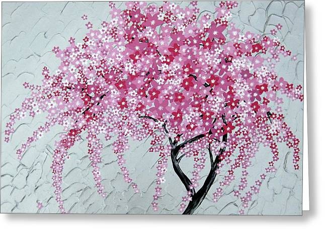 Cushions Mixed Media Greeting Cards - Japanese Cascade Greeting Card by Cathy Jacobs