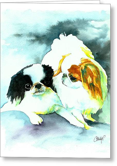Japanese Puppy Greeting Cards - Japanese Chin Dog Greeting Card by Christy  Freeman