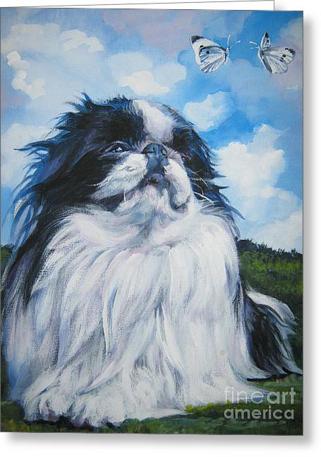 Japanese Puppy Greeting Cards - Japanese Chin Greeting Card by Lee Ann Shepard