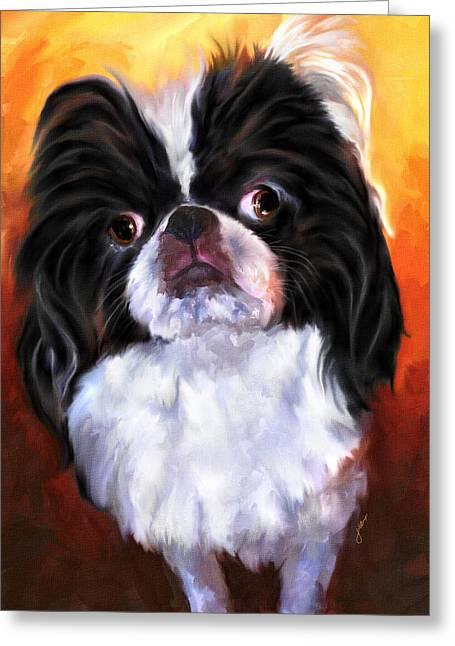Japanese Dog Greeting Cards - Japanese Chin Portrait Greeting Card by Jai Johnson