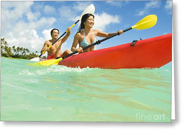 Japanese Couple Kayaking Greeting Card by Dana Edmunds - Printscapes