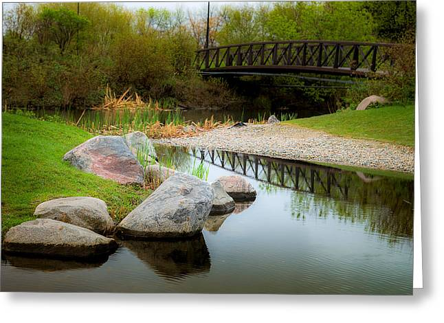 Pond In Park Greeting Cards - Japanese Decorative Garden Greeting Card by Donald  Erickson