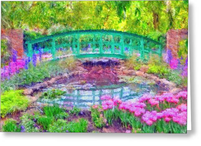 Japanese Footbridge At Phipps Conservatory 2 Greeting Card by Digital Photographic Arts