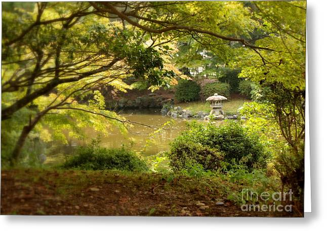 Moss Green Greeting Cards - Japanese Garden in Kyoto Greeting Card by Carol Groenen