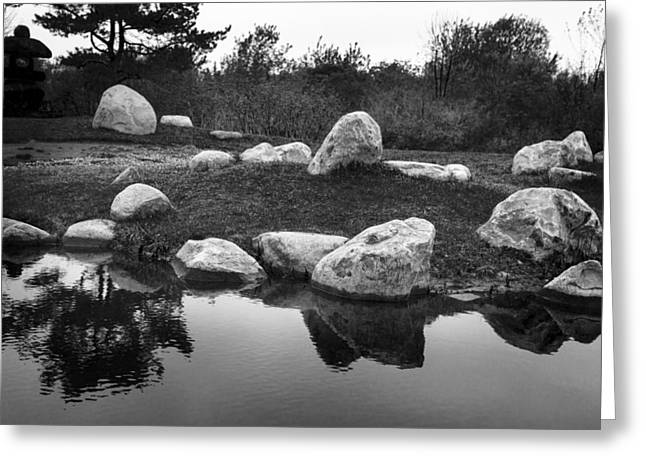 Pond In Park Greeting Cards - Japanese Garden - Rocks and Water Greeting Card by Donald  Erickson