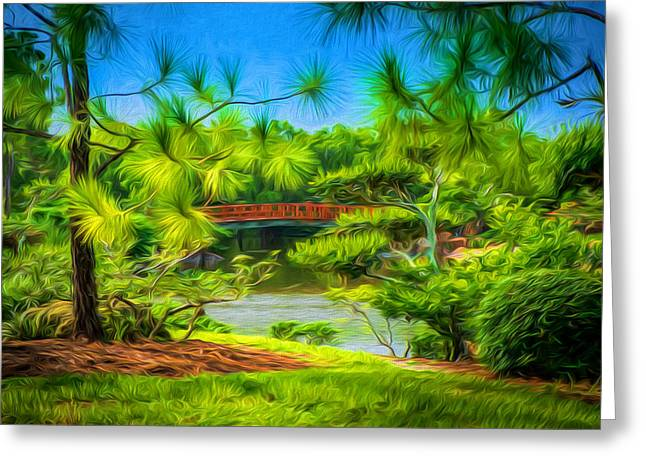 Japanese Gardens  Greeting Card by Louis Ferreira