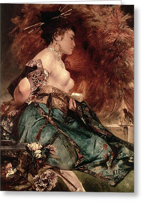 Chest Paintings Greeting Cards - Japanese girl Greeting Card by Hans Makart