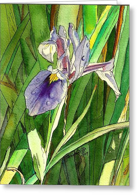 Marionette Greeting Cards - Japanese Iris Greeting Card by Marionette Taboniar