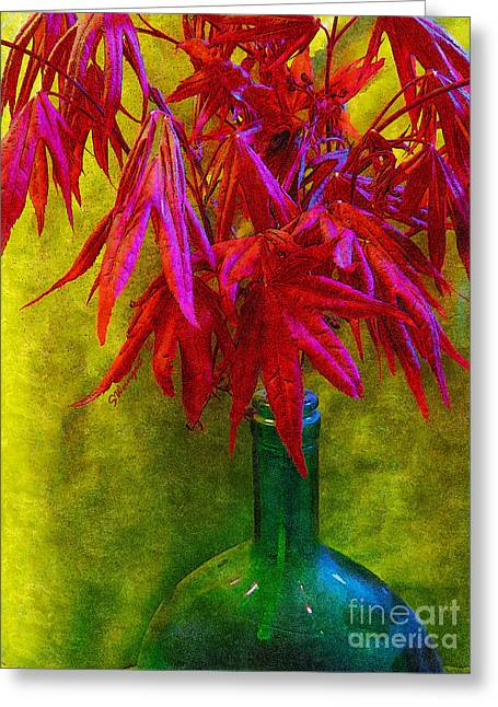 Glass Bottle Greeting Cards - Japanese Maple Leaves in a Green Bottle Greeting Card by Shelly Weingart