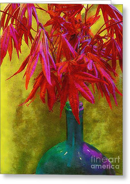 Glass Bottle Greeting Cards - Japanese Maple Leaves in Iridescent Bottle Greeting Card by Shelly Weingart