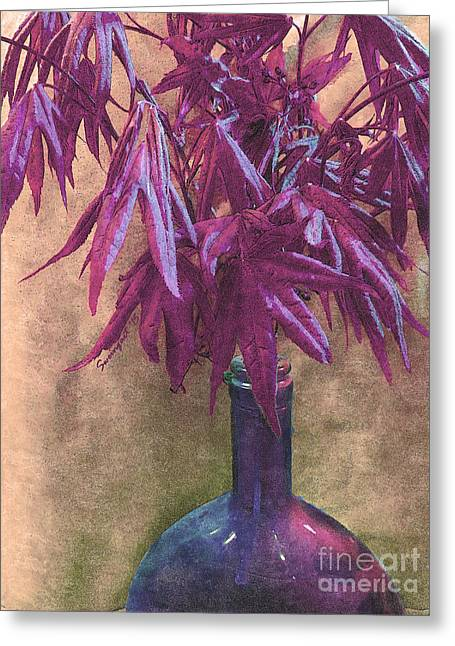 Glass Bottle Greeting Cards - Japanese Maple Leaves in Muted Violet Greeting Card by Shelly Weingart