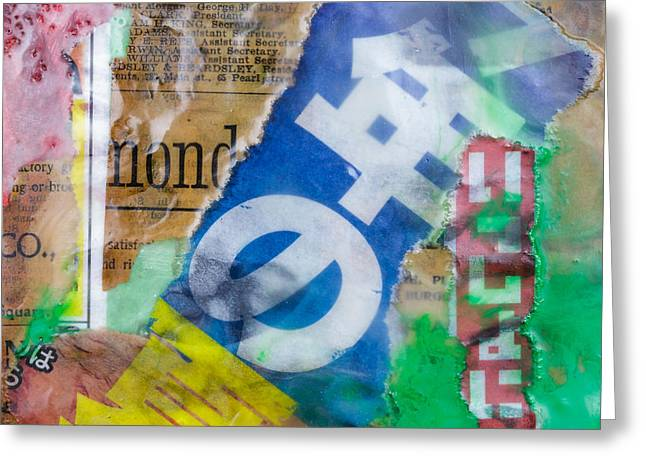 Japanese Newspaper Encaustic Mixed Media Greeting Card by Edward Fielding
