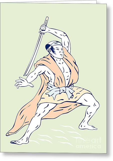 Brandishing Greeting Cards - Japanese Samurai Greeting Card by Aloysius Patrimonio